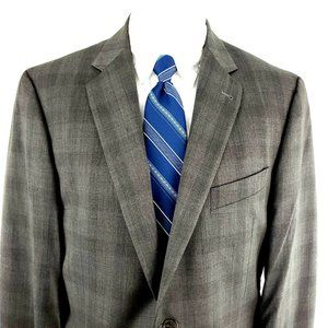 Joseph Abboud 40R 2 Button Plaid Gray Wool Blazer